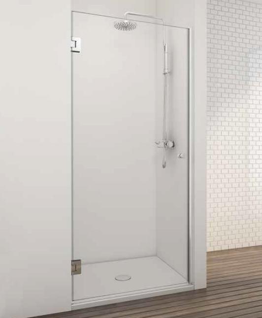 Mampara ducha puerta abatible cromo sin perfil inferior - Mamparas de ducha sin perfiles ...