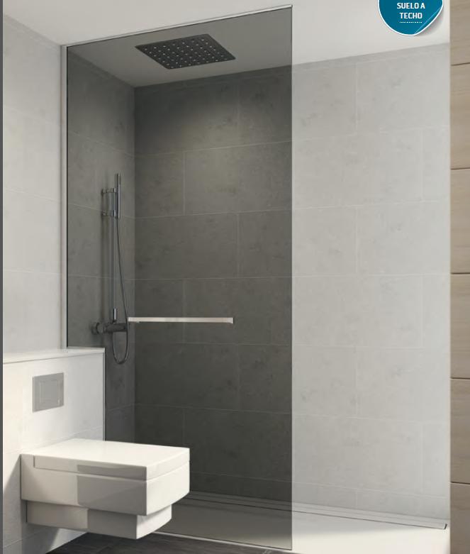 Panel fijo 8 mm con fijaci n techo suelo pared mamparas for Ducha de techo