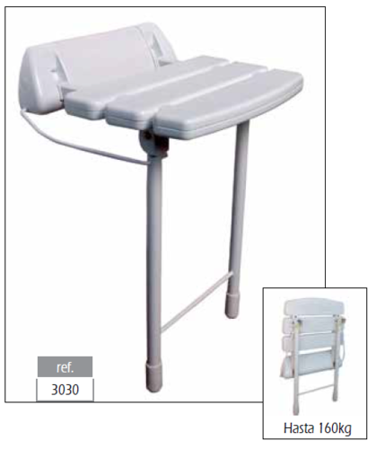 Asiento plegable a pared con patas color blanco